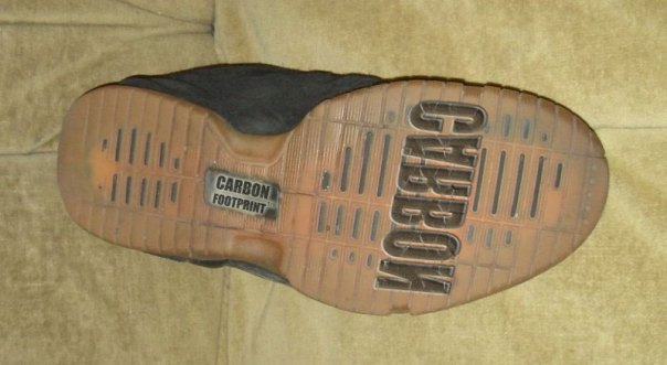 The Carbon Footprint Sneaker Shoe Sole Design, (c) Copyright 2008 by Daniel Spira, Use It Or Lose It