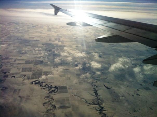 wingtip over Saskatchewan -   North Dakota border