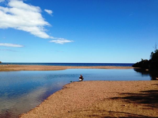 Baby Bjorn at Gooseberry Falls Lake Superior