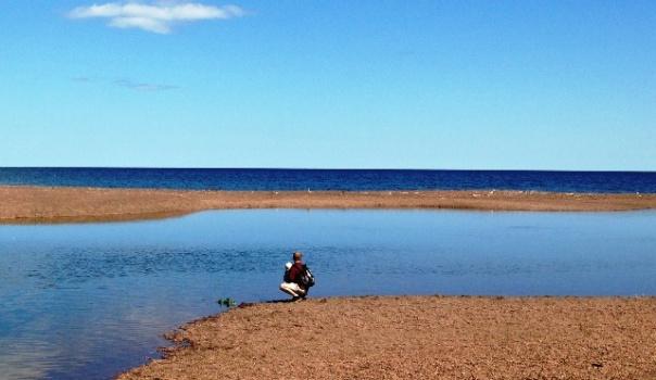 Baby Bjorn at Lake Superior